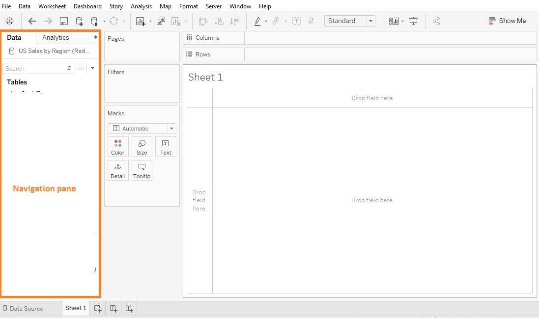 Tableau Worksheet show or hide elements Step 1